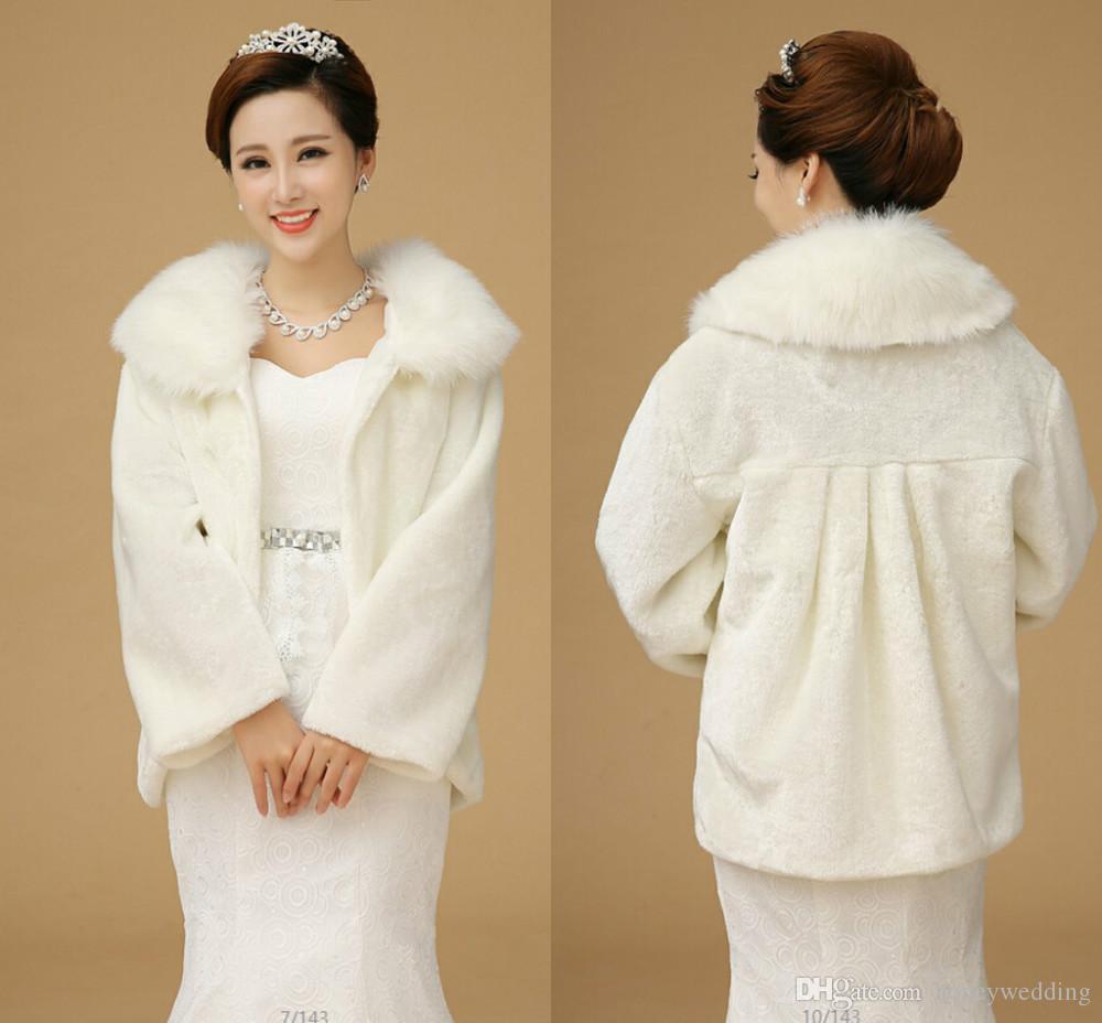 2017 long sleeve winter wedding coat faux fur shawls for Winter shawls for wedding dresses