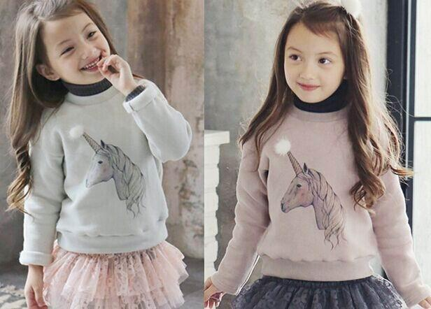 Pinkideal 2016 Spring Girl T-shirts Cartoon Unicorn Coton polaire épais à manche