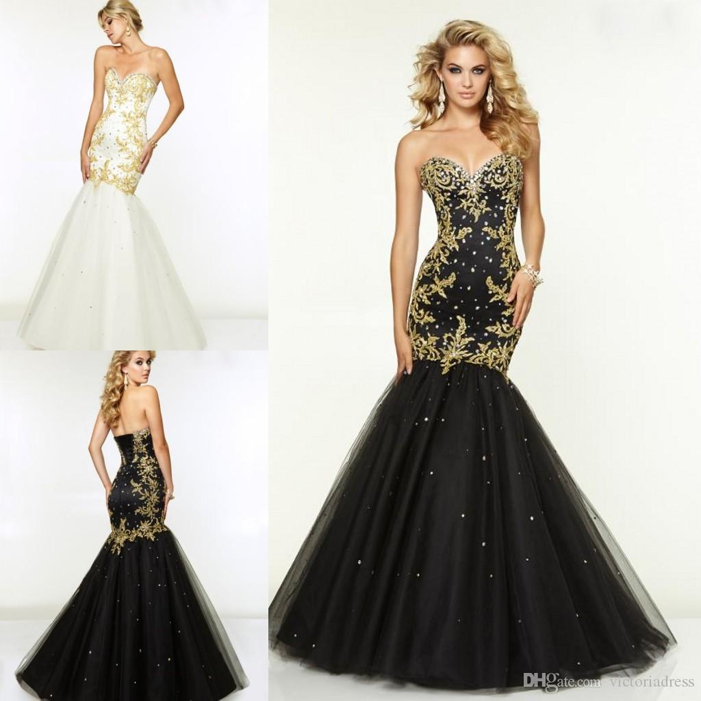 Gold Embroidery Beads White Black Prom Dresses Pageant Dresses For ...