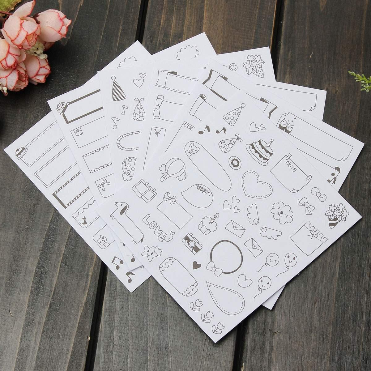 Scrapbook paper and stickers - 6pcs Set Low Price Best Promotion Cute Paper Stickers For Scrapbook Paper Sheets Calendar Photo