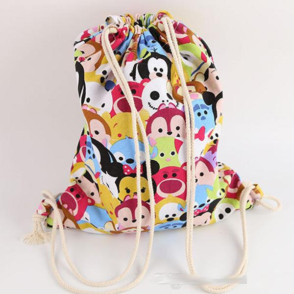 Tsum Tsum Drawstring Bags Mickey Minnie Mouse Printed Canvas ...