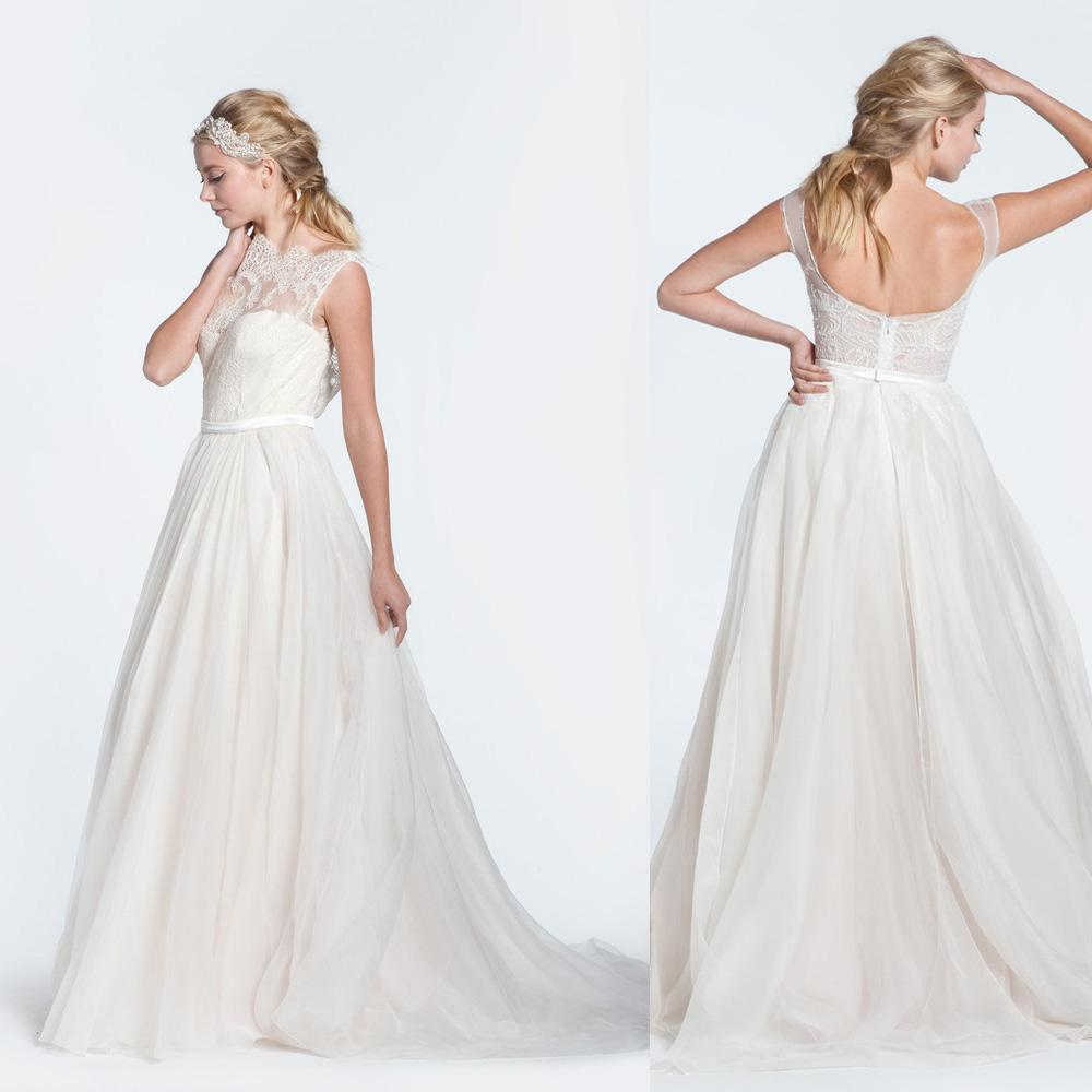 2015 Paolo Sebastian Wedding Dresses Plus Size Scoop Lace