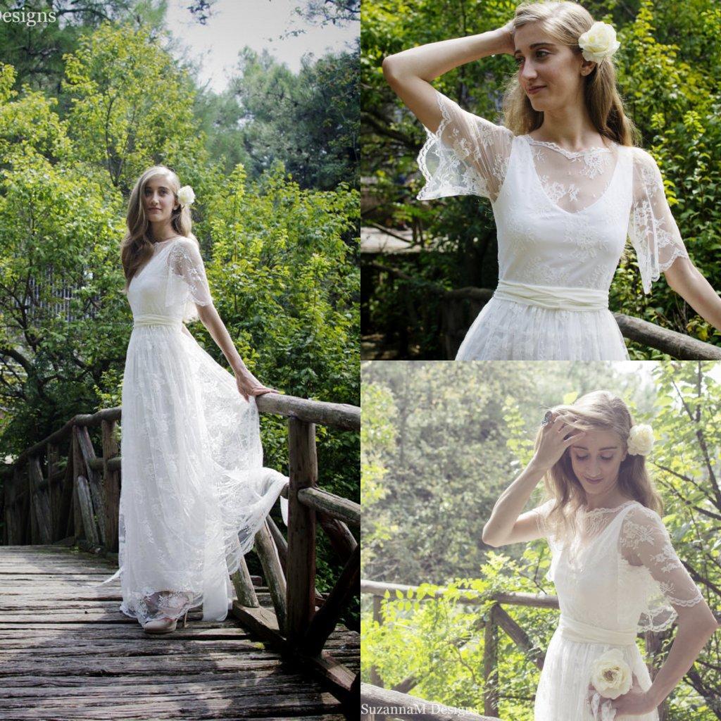 Bohemian ivory hippie wedding dresses lace bolero boho for Hippie bohemian wedding dresses