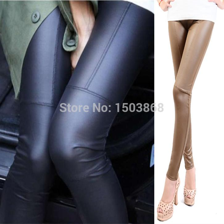 2017 New Spring Women Sexy Leather Leggings Black/Khaki Punk Rock ...