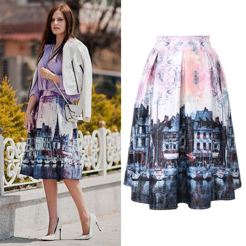 2017 Fashion Women Midi Skirt 2015 Summer Retro City Printed Ball ...