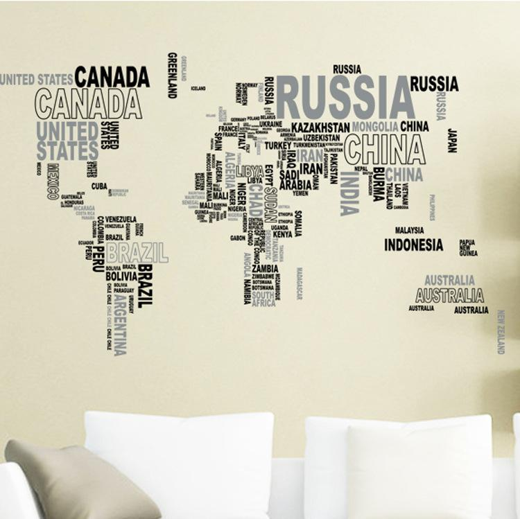 Removable Letter World Map Decal Art Mural Home Decor Wall