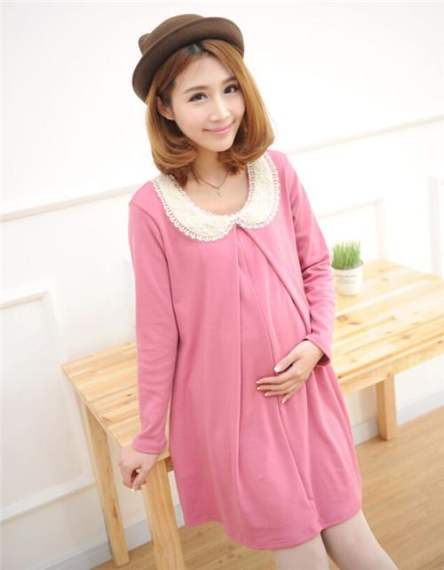 solid long sleeve cute style pregnant dress plus size nursing clothes pink loose breast feeding. Black Bedroom Furniture Sets. Home Design Ideas