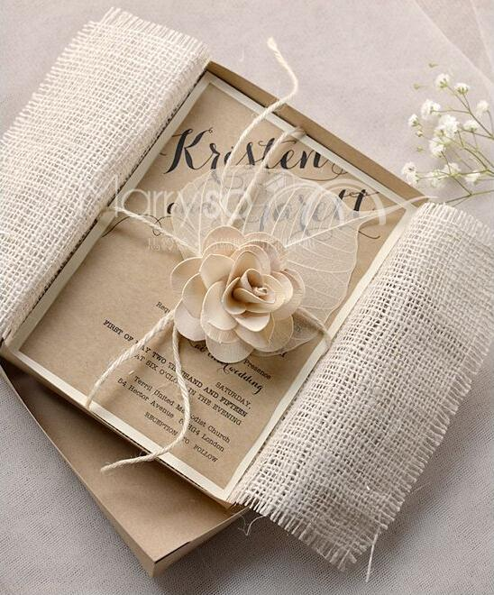burlap wedding invitations with lace and rope diy wedding, Wedding invitations