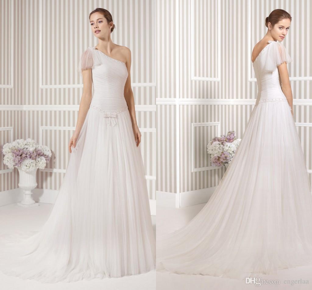 Discount simply white a line wedding dresses one shoulder for Simply white wedding dresses