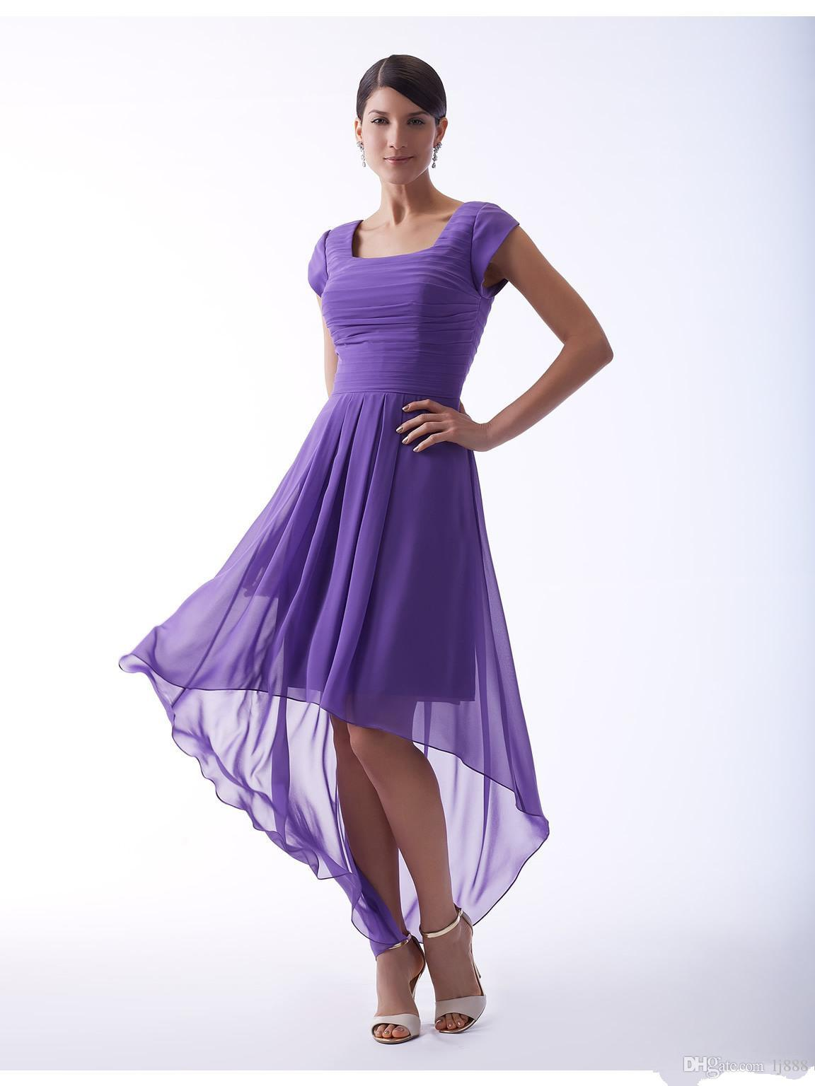 Purple high low short modest bridesmaid dresses with short sleeves purple high low short modest bridesmaid dresses with short sleeves a line pleats country short front long back wedding bridesmaid gold bridesmaid dress ombrellifo Image collections