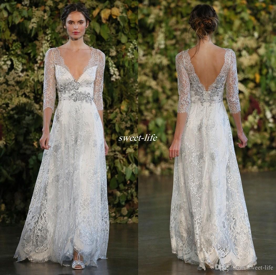 Vintage 2016 silver lace wedding dresses a line plunging v neck vintage 2016 silver lace wedding dresses a line plunging v neck open low back beaded belt sheer long sleeves floor length cheap bridal gowns wedding dresses ombrellifo Image collections