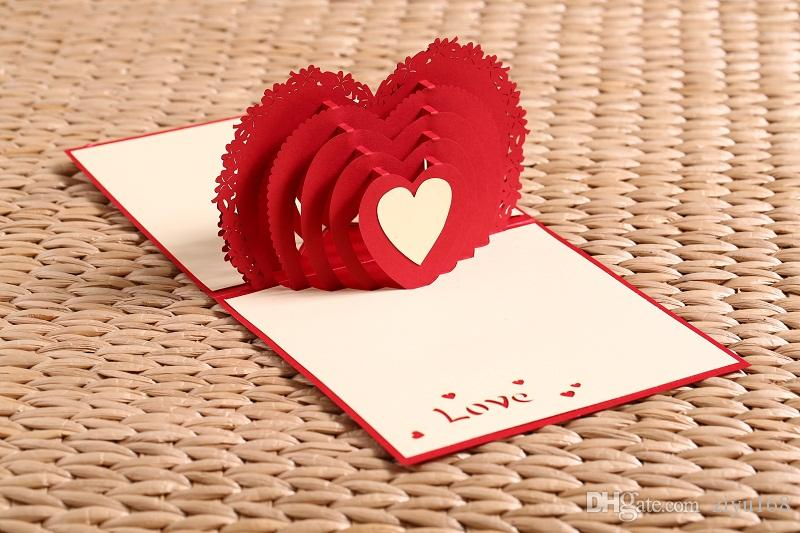 i love you red heart design handmade creative kirigami  origami, Birthday card