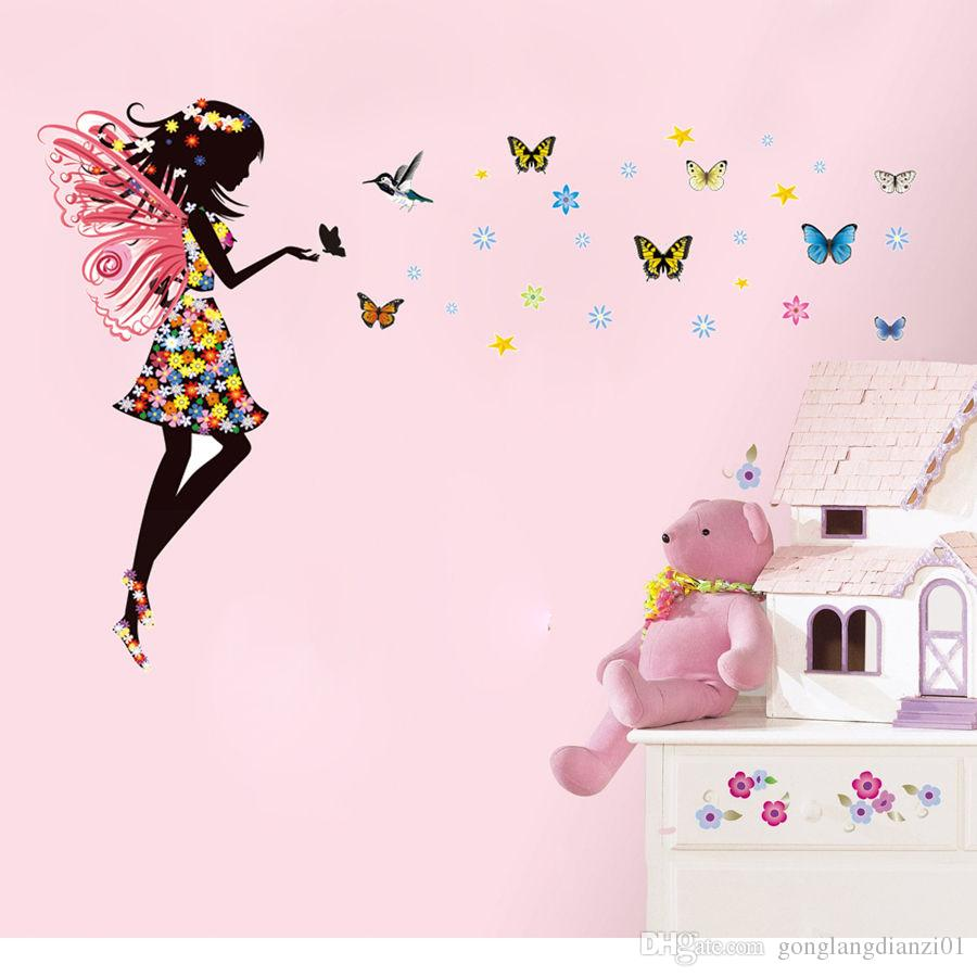 Angel fairy girl butterflies wall sticker decal diy kids nursery ...