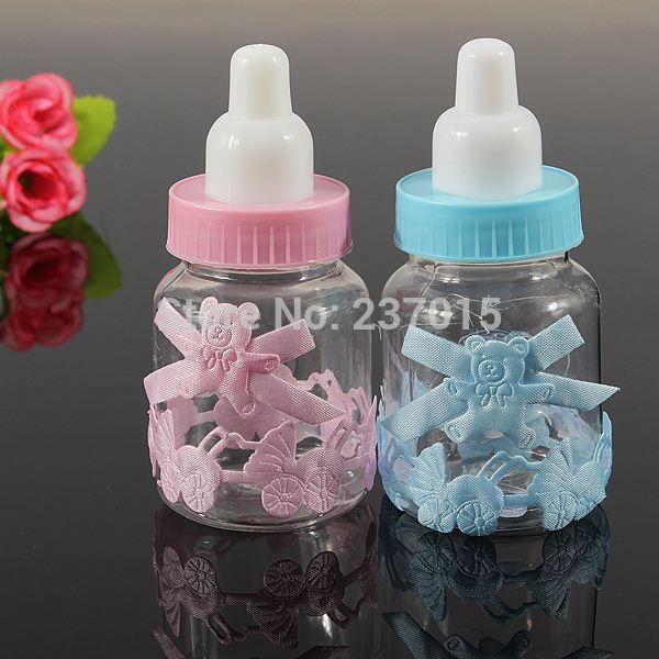 2pcs baby shower baptism christening birthday gift party favors candy box bottle free shipping