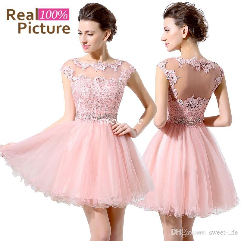 Cute Pink Short Prom Dresses Cheap A-Line Mini Tulle Lace Beads ...