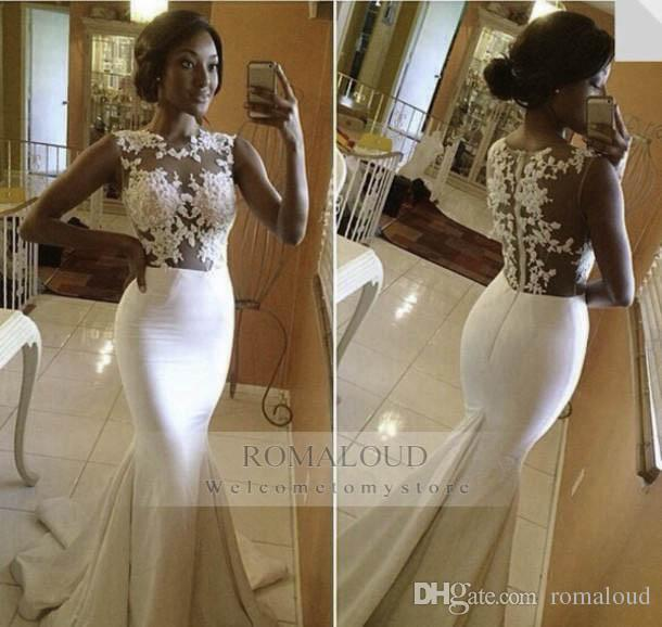 2017 Sexy Haute Couture White Ivory Wedding Dresses Sheer Lace Mermaid Crew Neck Sleeveless With Satin Sweep Train Bridal Gowns Bride Dress Y Wedding