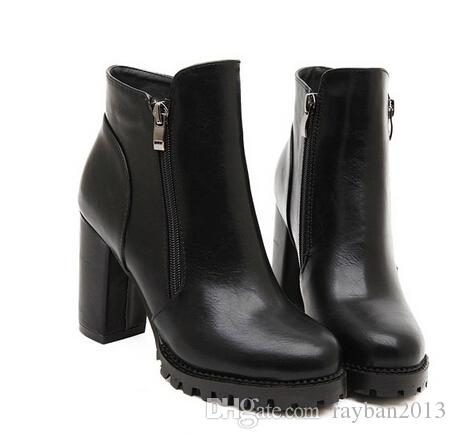 Celeb Style Women High Heel Ankle Boots Motorcycle Boots Thick ...