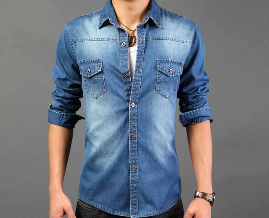2015 New Fashion Men Casual Shirts Wholesale Men's Denim Shirts ...
