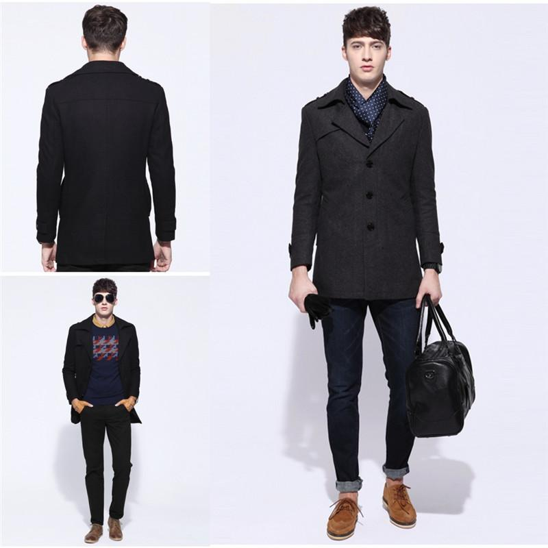 Fashion Mens Black Peacoat Lapel Neckline Single Breasted Buttons ...