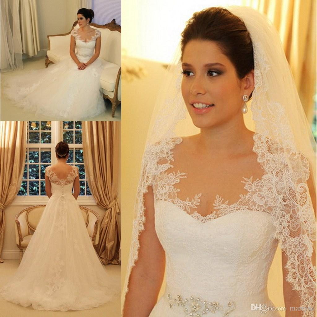 Discount Elegant Lace Sweetheart Neckline Long Wedding Dresses ...
