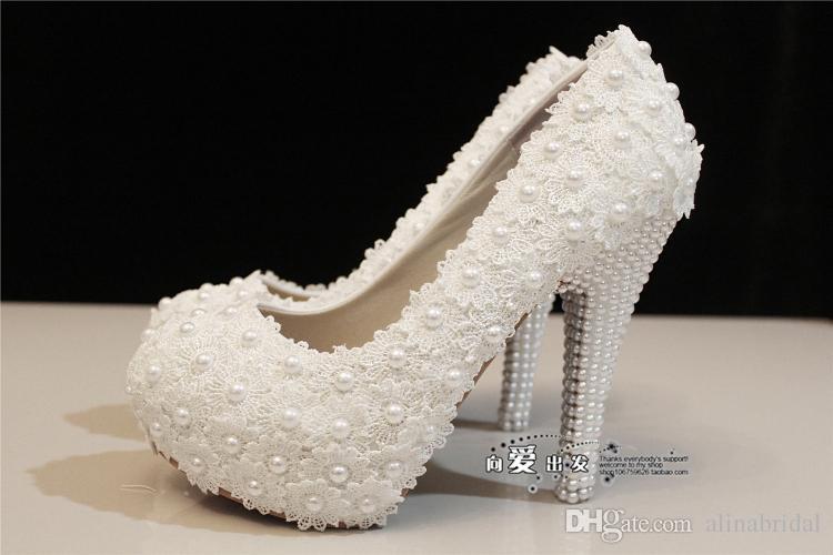 Cristales de novia Zapatos blancos de encaje zapatos de boda Flor de Perlas ENCARGO 11 CM