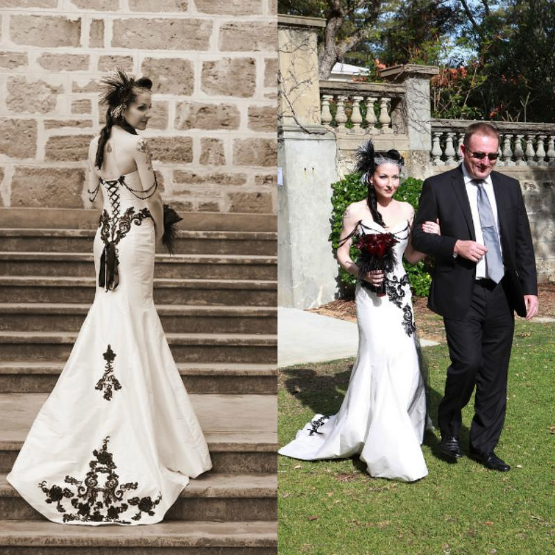 unique gothic wedding dresses black and white wedding gown