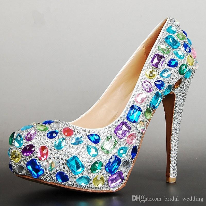 colorful gems wedding shoes sparkling