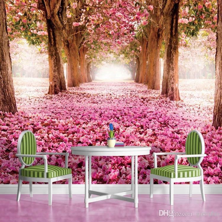 Großhandel 3d wallpaper rosa blume bäume wandgemälde ...