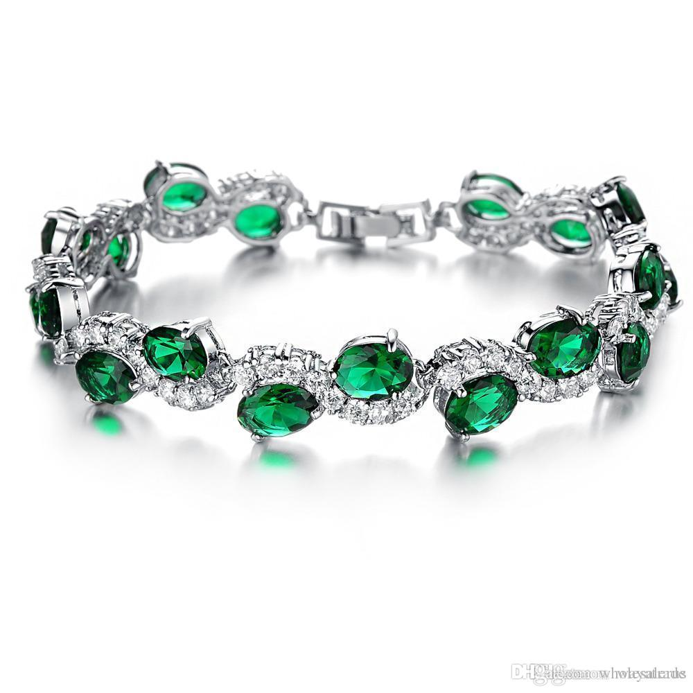 Plated White Gold Hand Chain Green Crystal Diamond Bangle Fashion Bracelet  For Girls Women Fashion Diy Jwewlry Bracelet Charm Bracelet Bracelet  Jewelry