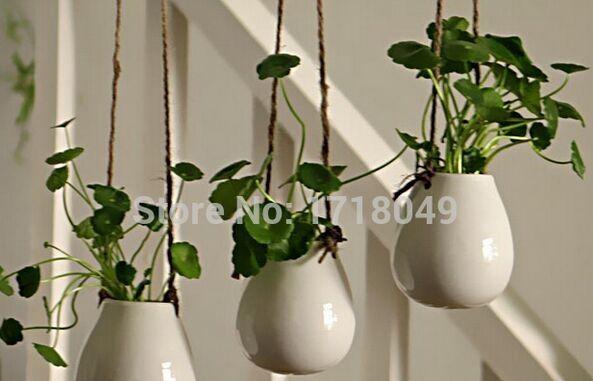 White Egg Shaped Ceramic Wall Hanging PotsIndoor Planter