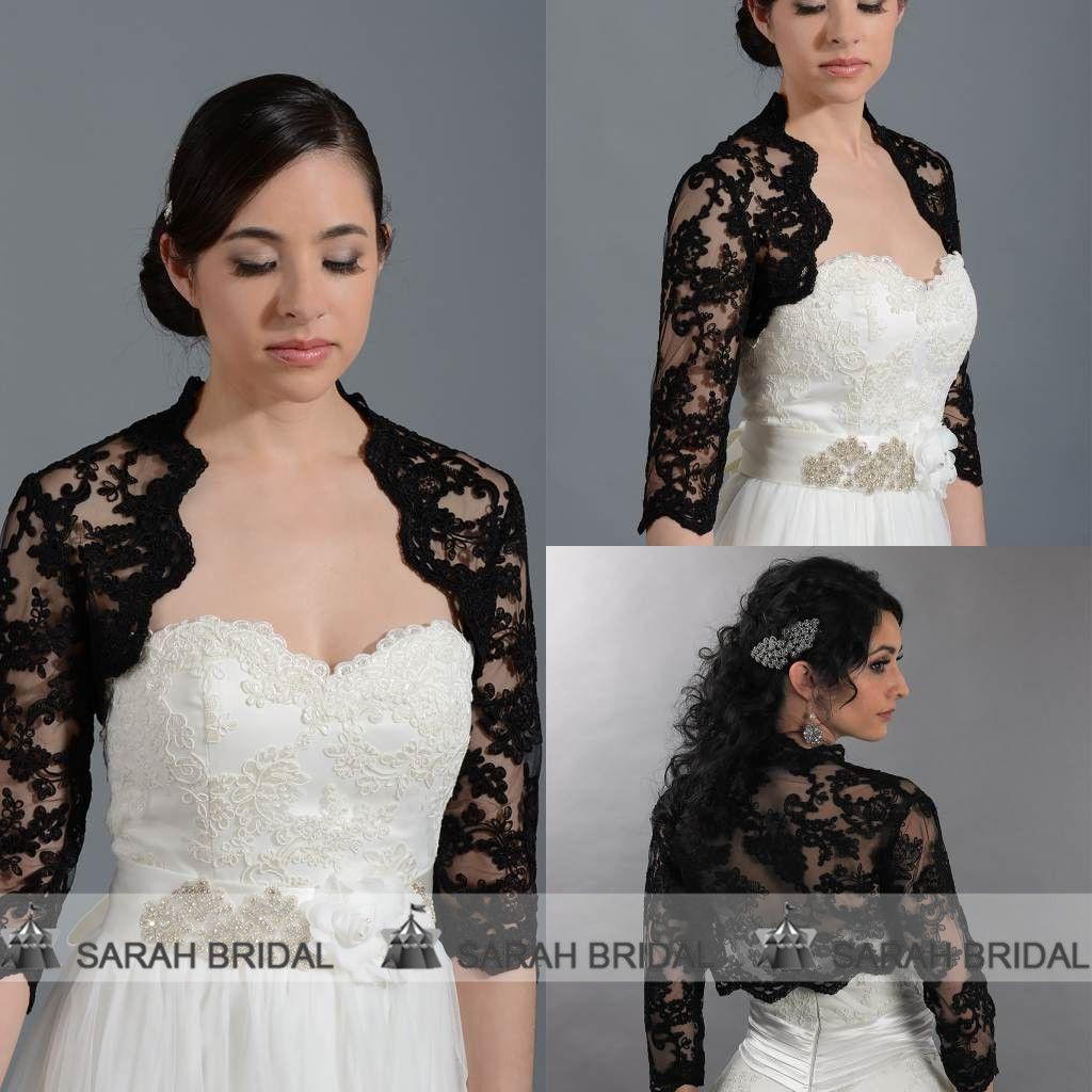 2017 wedding jackets for women black lace 3 4 long sleeve for Black lace jacket for wedding dress