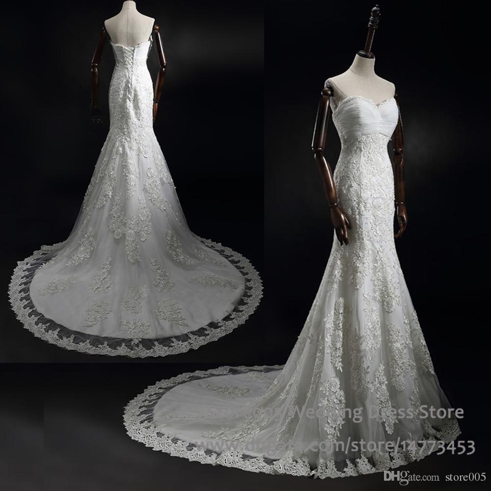 China mermaid lace wedding dresses real sample sweetheart for True mermaid wedding dresses