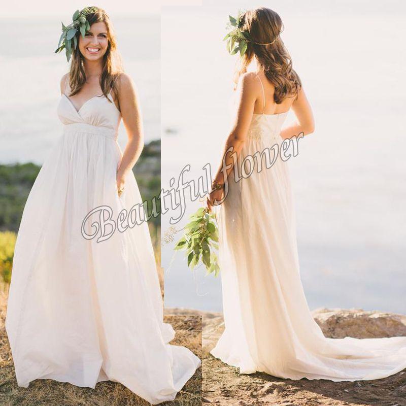 Discount 2015 Maternity Beach Wedding Dresses Vintage Plus Size Spaghetti Str