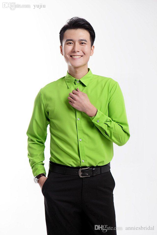 Online cheap wholesale 2015 new bright green mens wedding for Discount mens dress shirts online