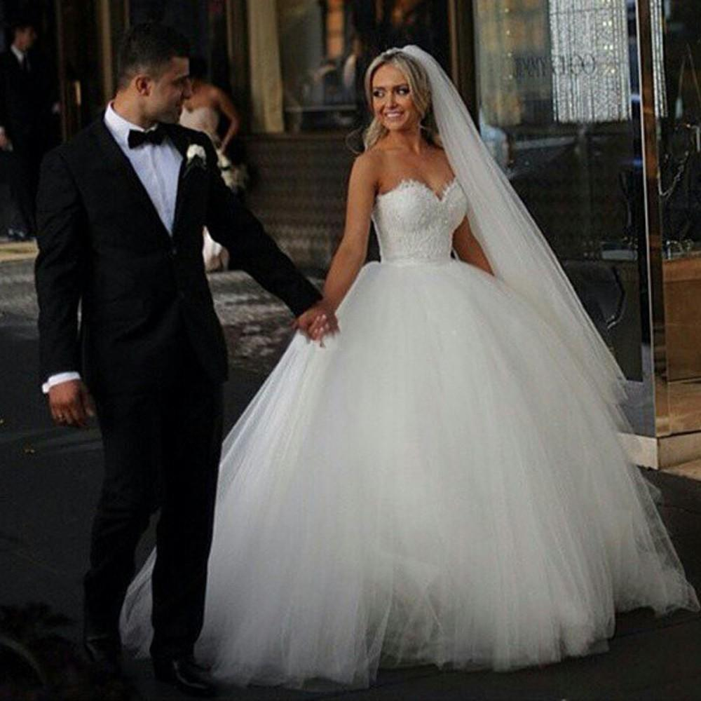 2015 Ball Gown Wedding Dresses Sweetheart Corset Bridal Princess ...
