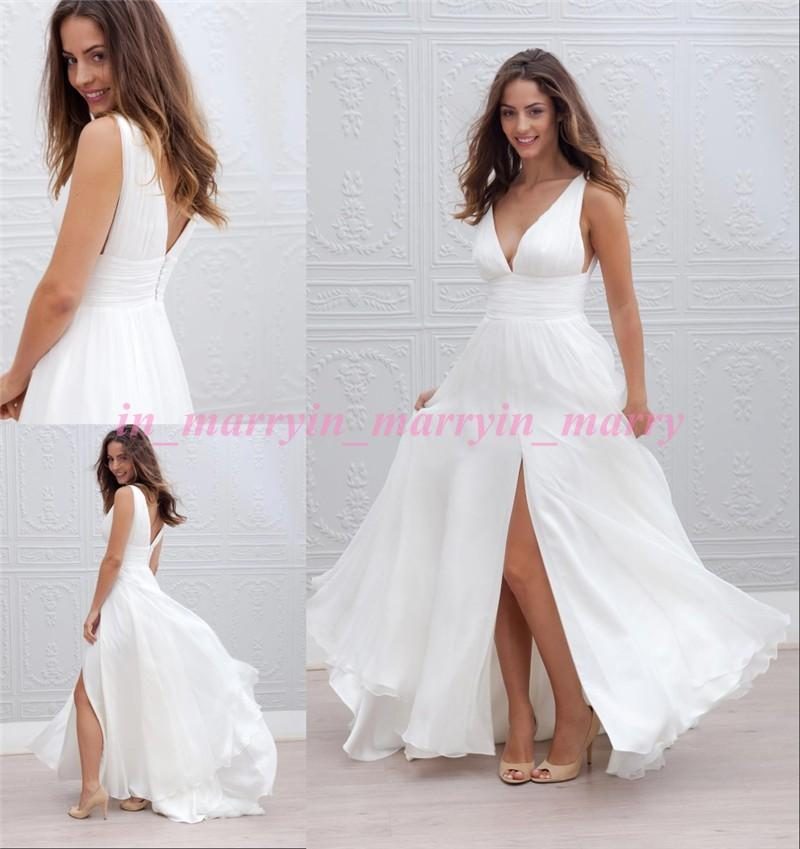 Simple Cheap Beach Boho Wedding Dresses 2015 A Line V Neck Long ...