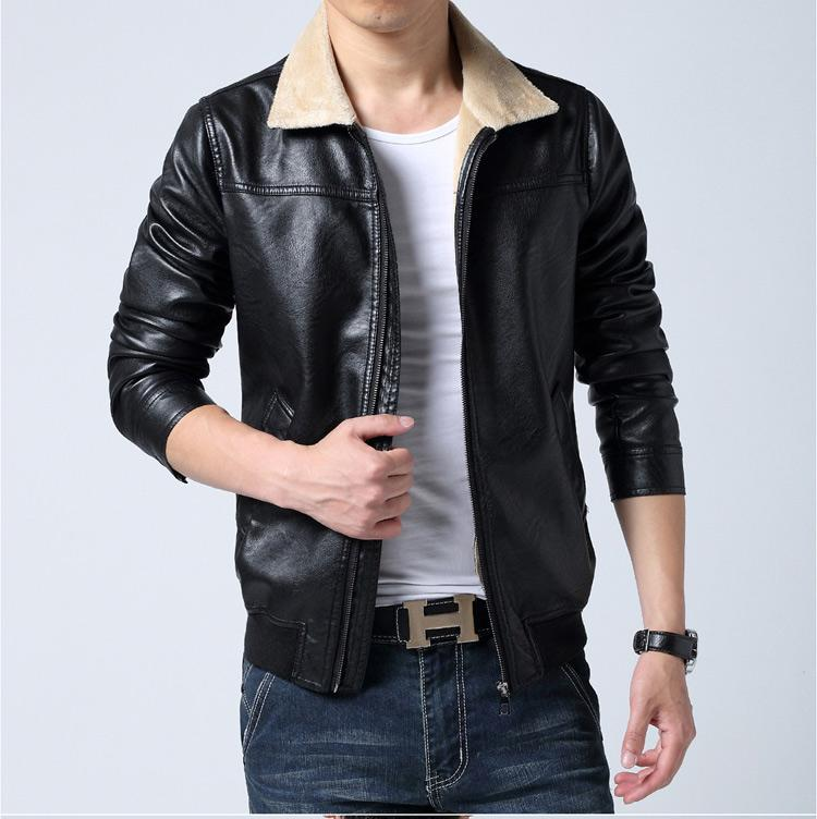 2017 New Trend Mens Leather Jackets And Coats Fur Winter Mens ...