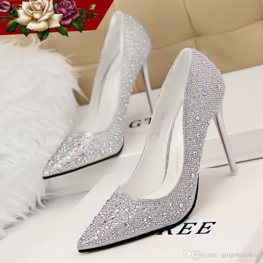2015 Real Image Best Selling Sliver/Pink Bridal Shoes ...