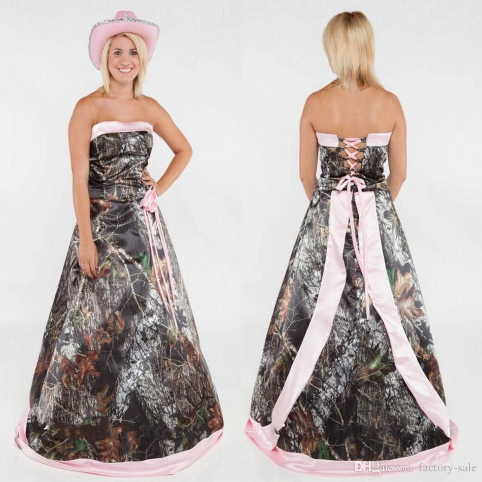 Discount vintage wedding dresses 2016 strapless camo for Forest wedding dress vintage
