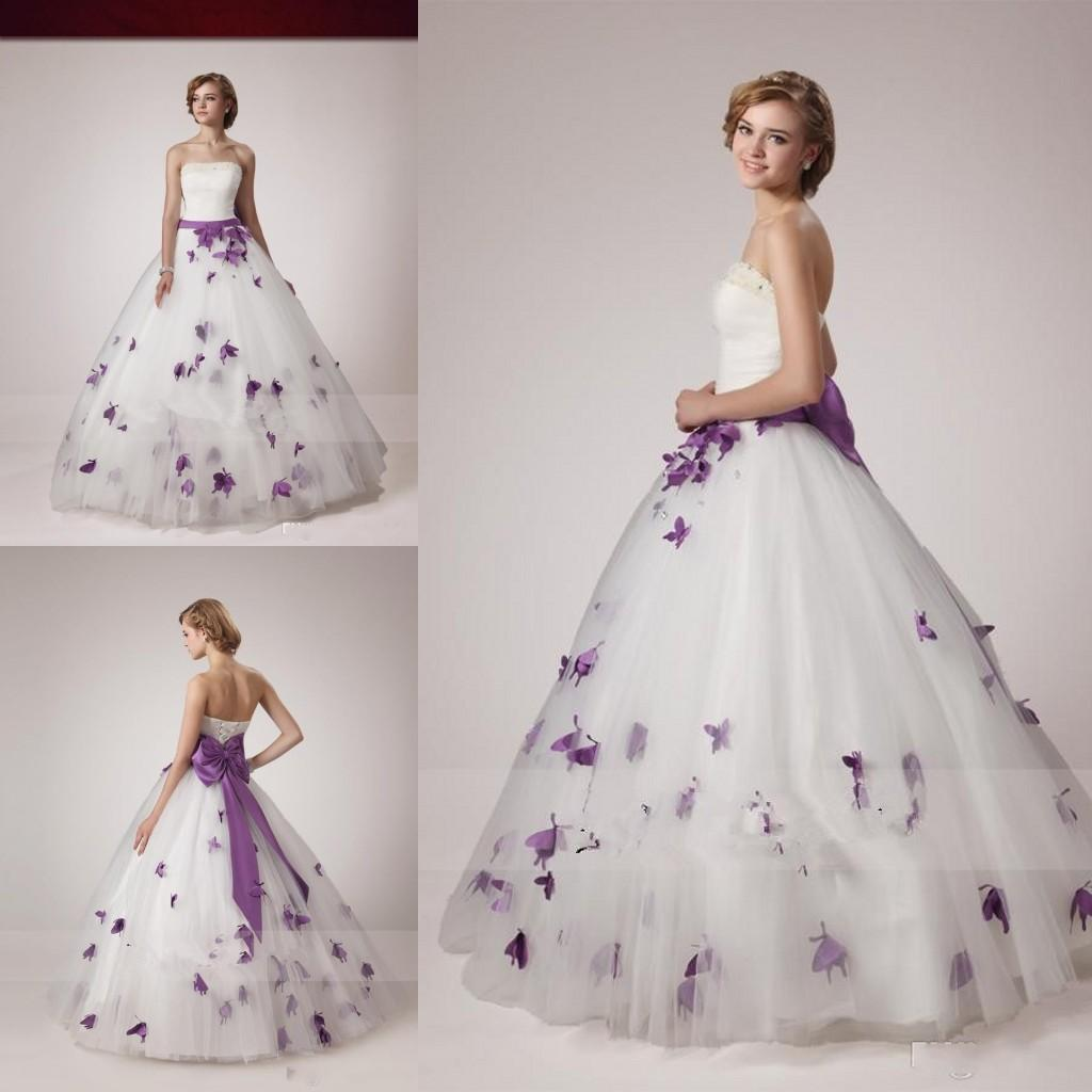 2015 white purple ball gown wedding dresses vestidos de for White wedding dress with lavender