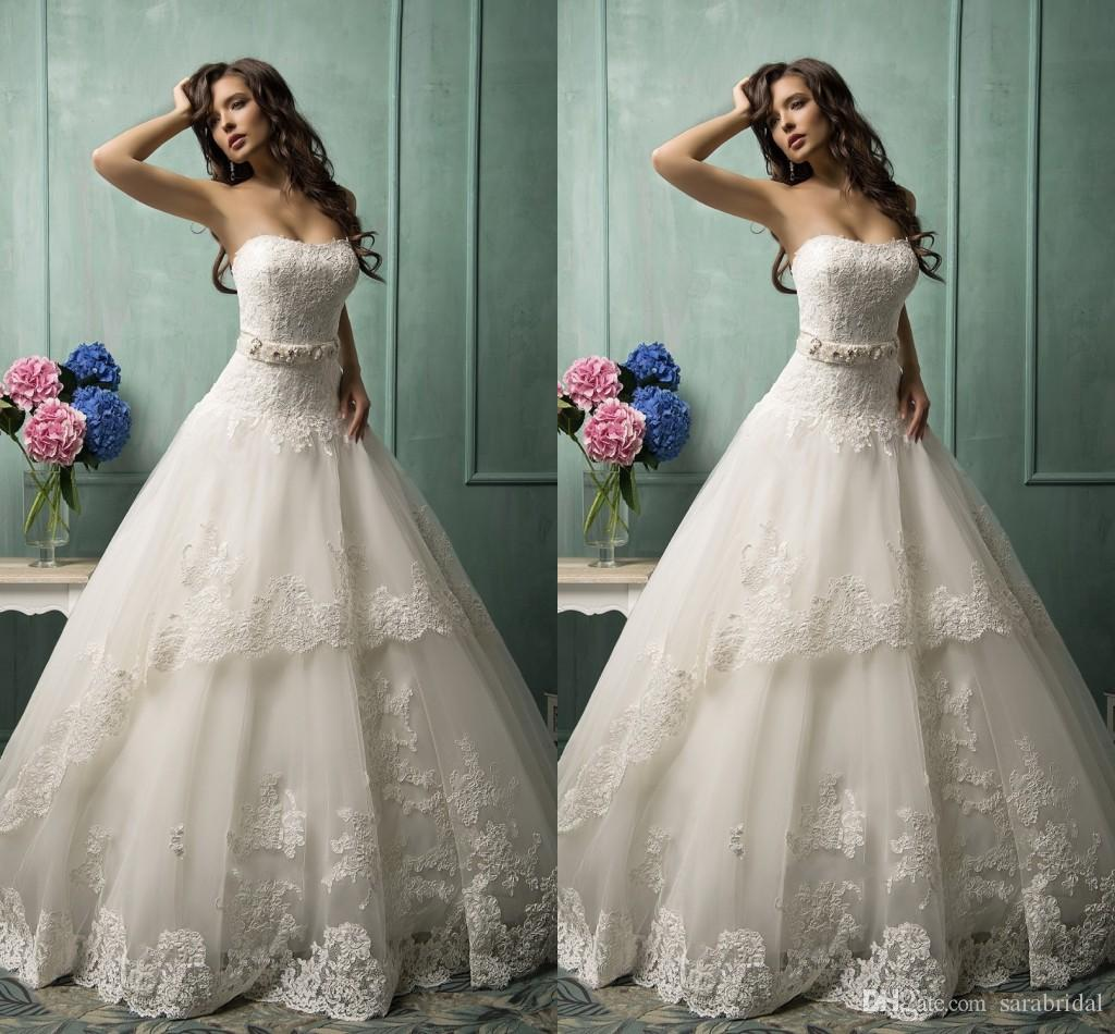 Vintage Garden Ball Gown Lace Wedding Dresses 2015 Strapless ...
