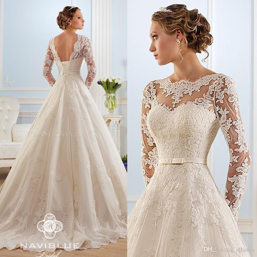 discount 2016 elegant white lace wedding dresses sheer long sleeves