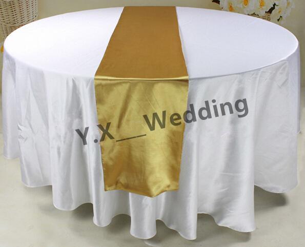 Nice 108 Round Diameter White Satin Table Cloth With Gold Color Satin Table  Runner Table Cloth Satin Table Cloth Wedding Table Cloth Online With  $175.96/Piece On ...