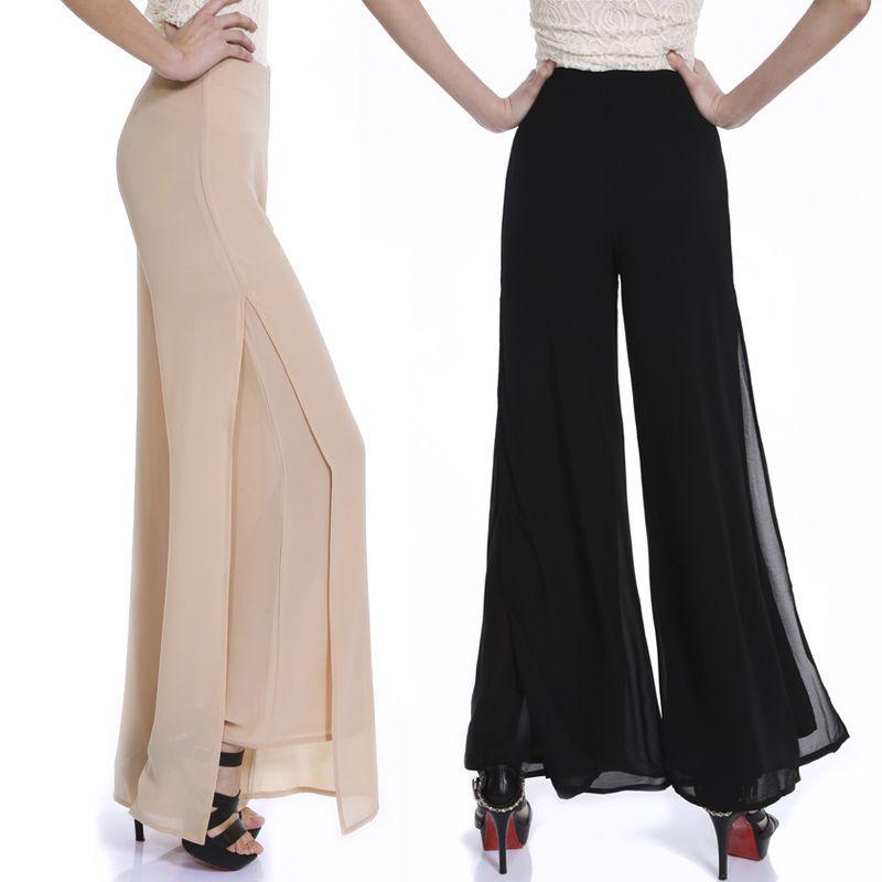 Fake S 90 3 >> Pantalones Mujer 2015 Summer Women Casual Split Chiffon Pants Ladies Loose High Waist Wide Leg ...