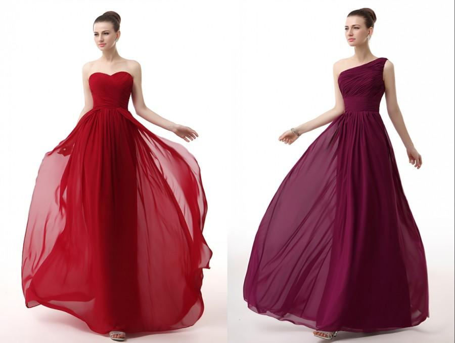 Vestidos 2016 Sexy Dark Red Bridesmaid Dresses Long Chiffon Ruffle ...
