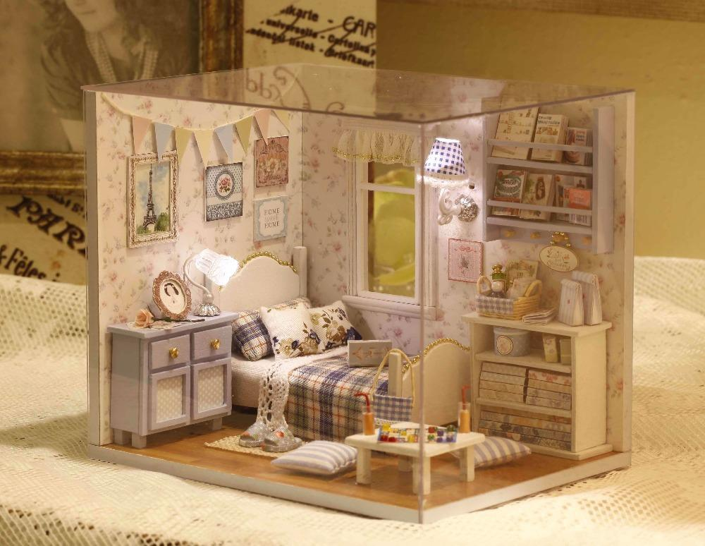 Compre miniatura de madera casa de mu ecas de juguete el env o gratuito hecho a mano 3d - Casas en miniatura de madera ...