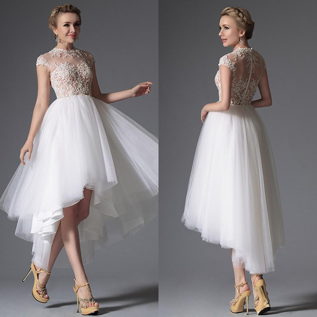Discount 2015 Sexy High Low Wedding Dress Sheer Jewel Cap Sleeves Lace Appliques Tulle Skirt See Through Top Prom Gowns Empire Line Dresses Gown