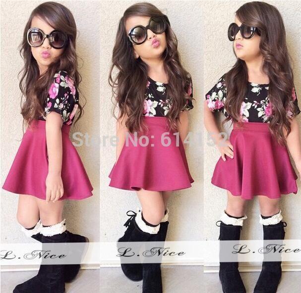 2015 summer baby girls clothing set top+flower skirt 2pcs children clothes suit kids girl