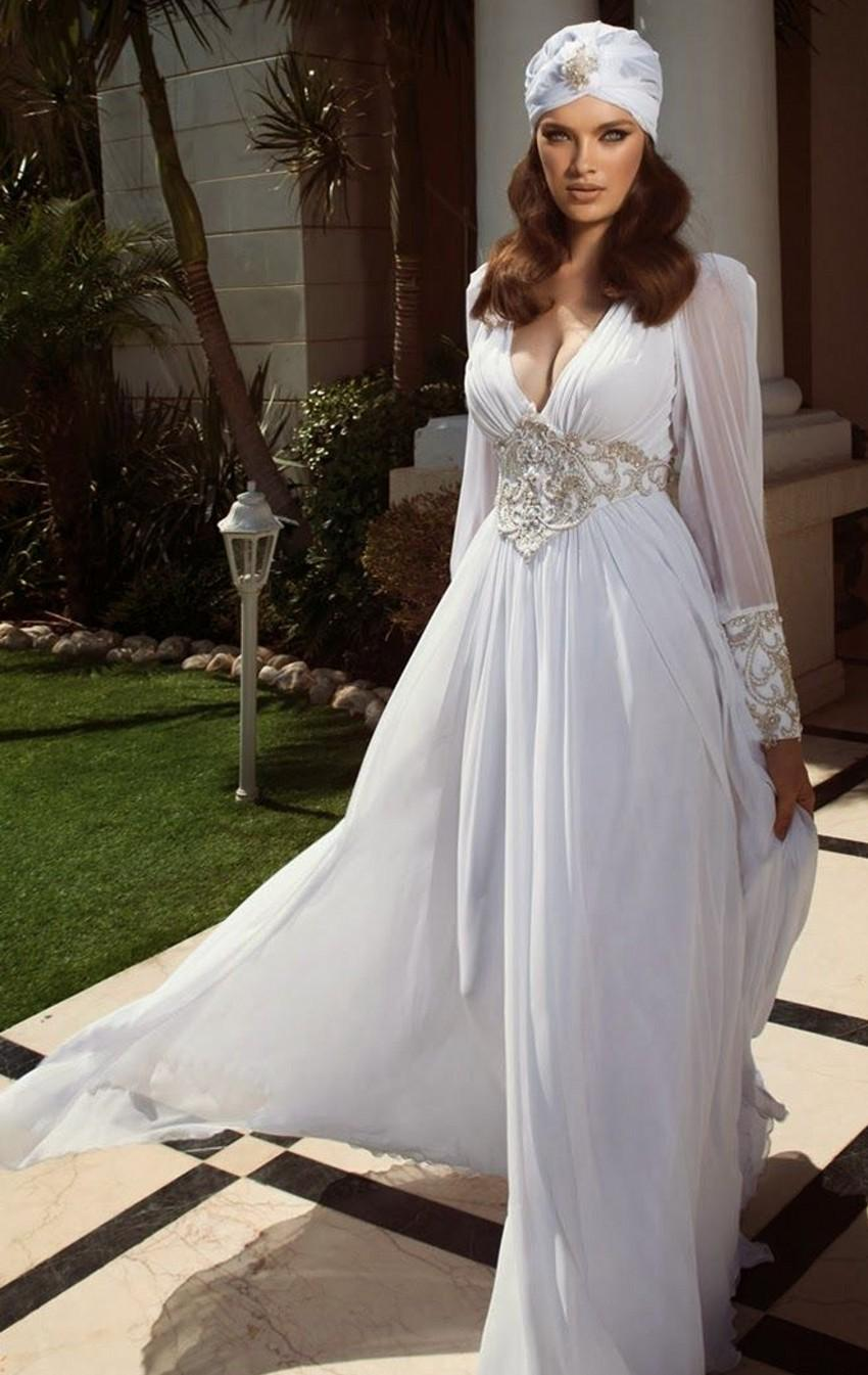 Wedding Dresses Empire Waist Oved Cohen Deep V Neck Long