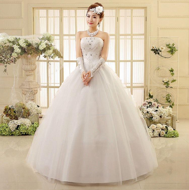 Pure Design Strapless Princess Wedding Dresses Beading Applique Laceup Wedding Dress HS550